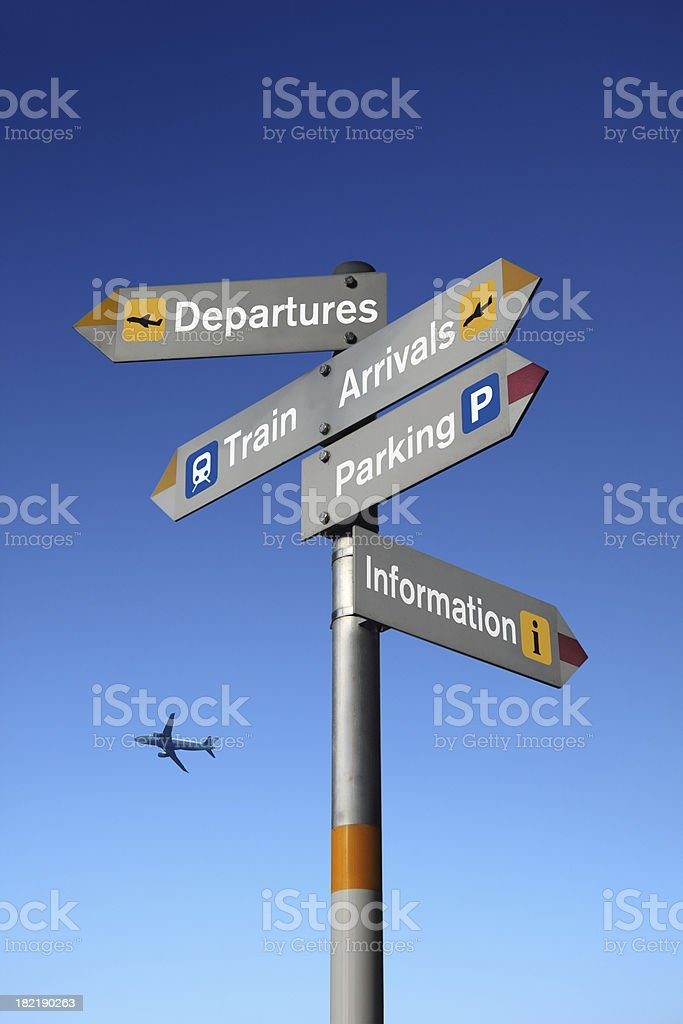 Signpost at the Airport royalty-free stock photo