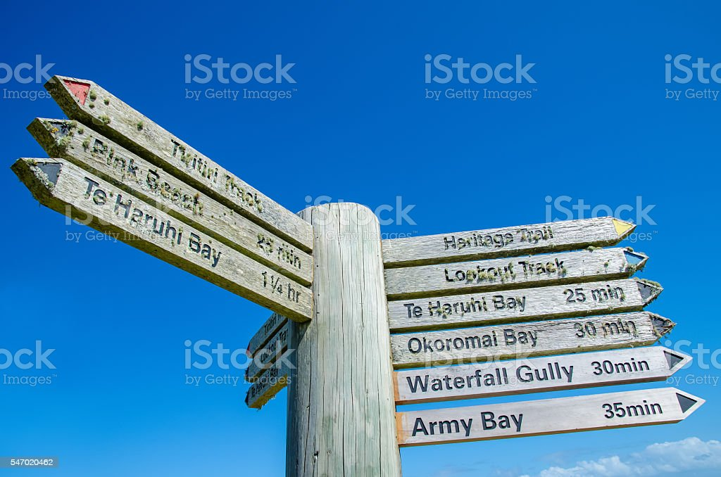 Signpost at the Shakespear Regional Park stock photo
