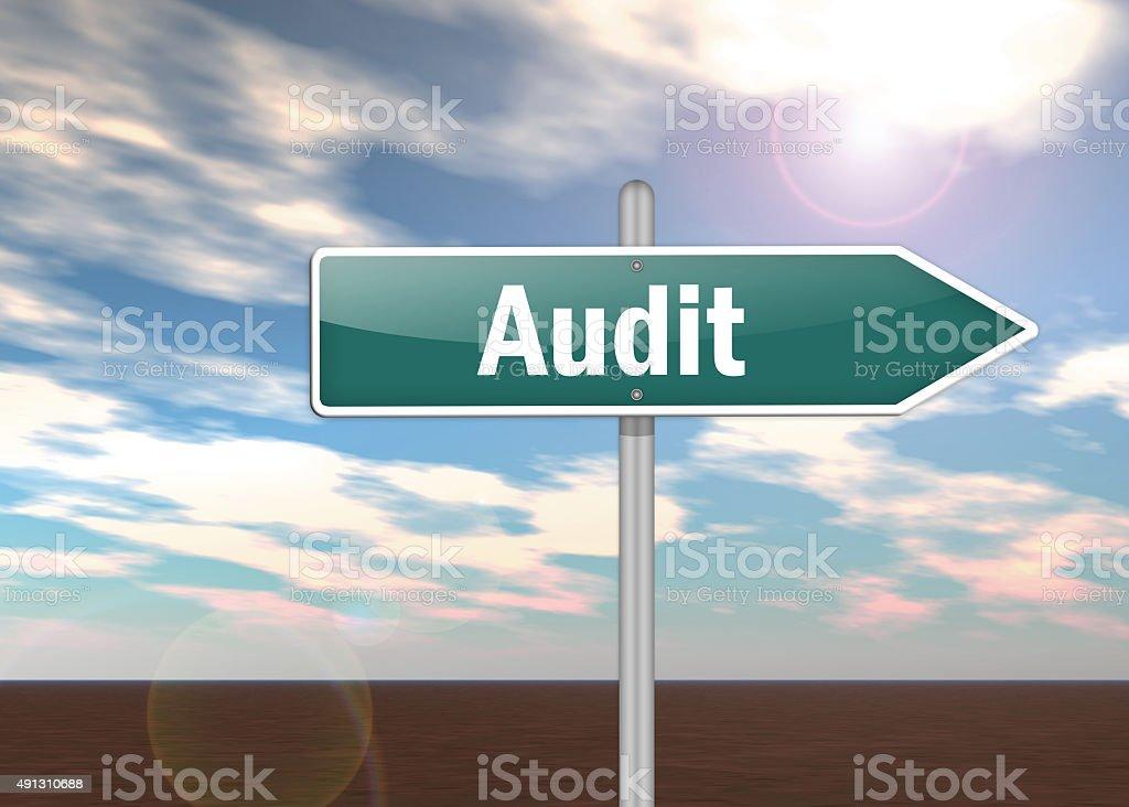 Signpost Audit stock photo