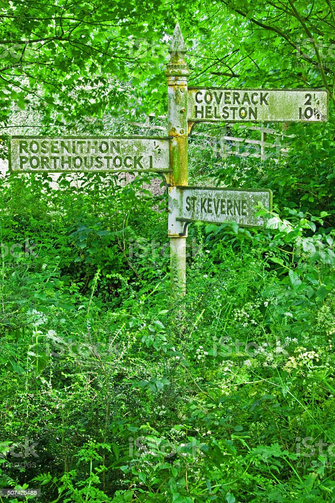 Signpost beside a disused road on the Lizard peninsula UK stock photo