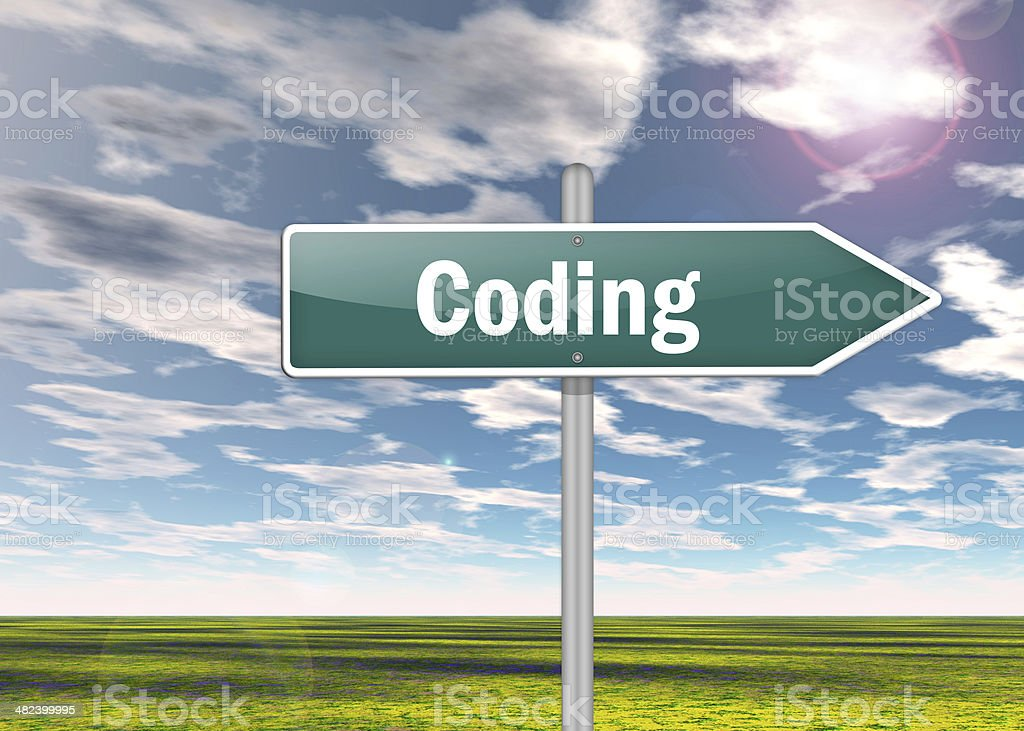 Signpost Coding stock photo