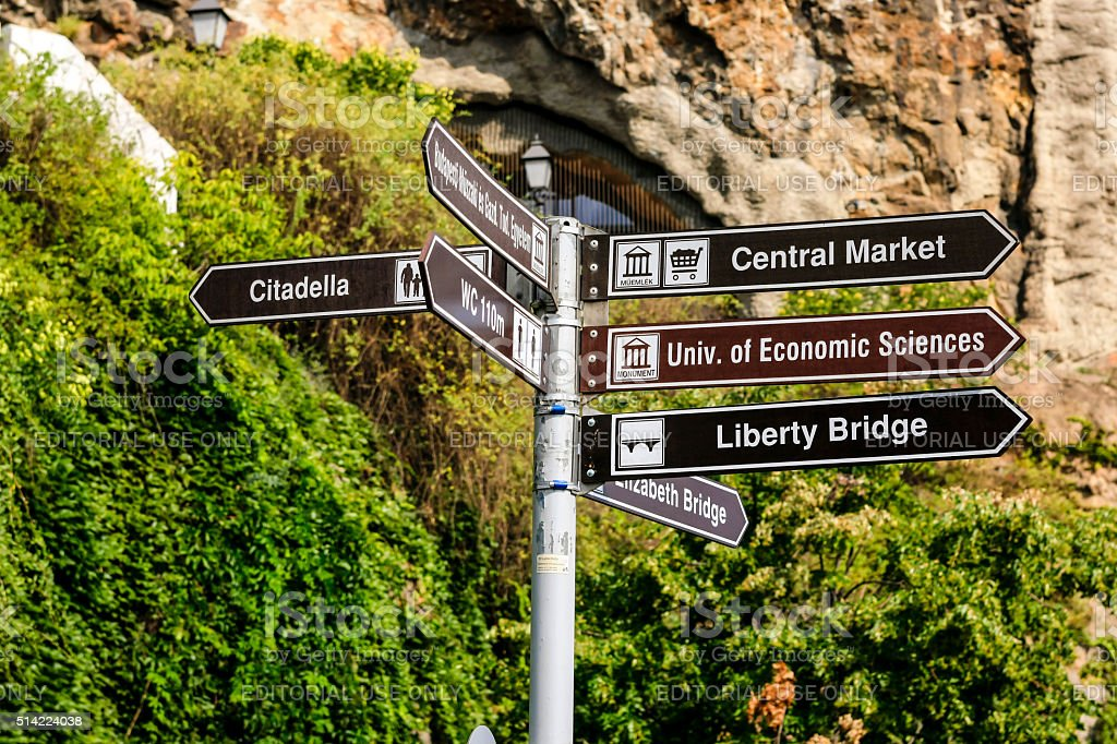 Signpost directions to tourist sites in Budapest, Hungary stock photo