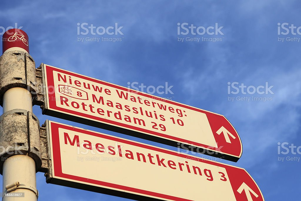 signpost for cyclists along the Dutch coast stock photo