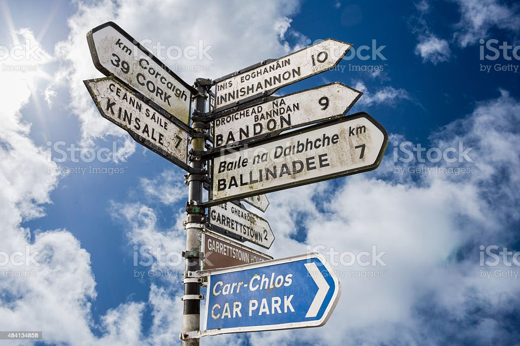Signpost for places in cork Ireland stock photo