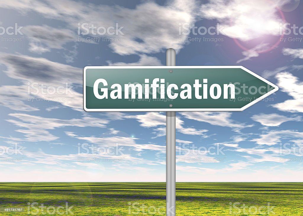 Signpost Gamification stock photo