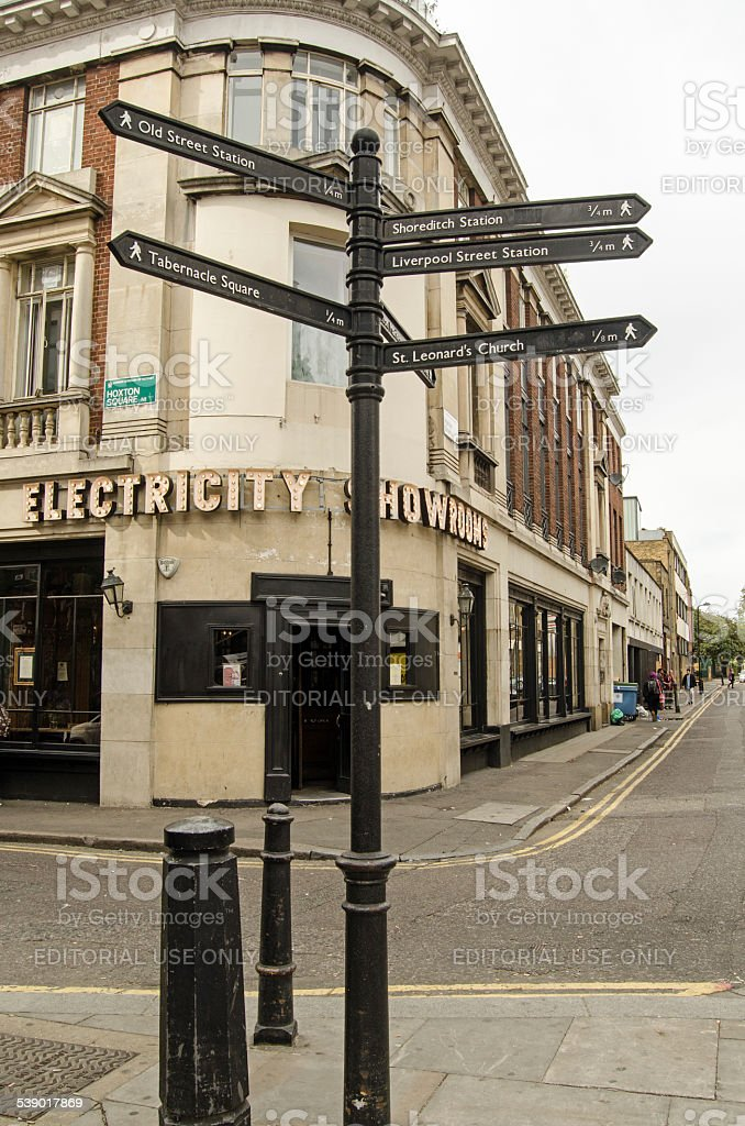Signpost, Hoxton, London stock photo