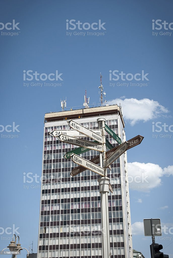 Signpost in center of Nis, Serbia royalty-free stock photo