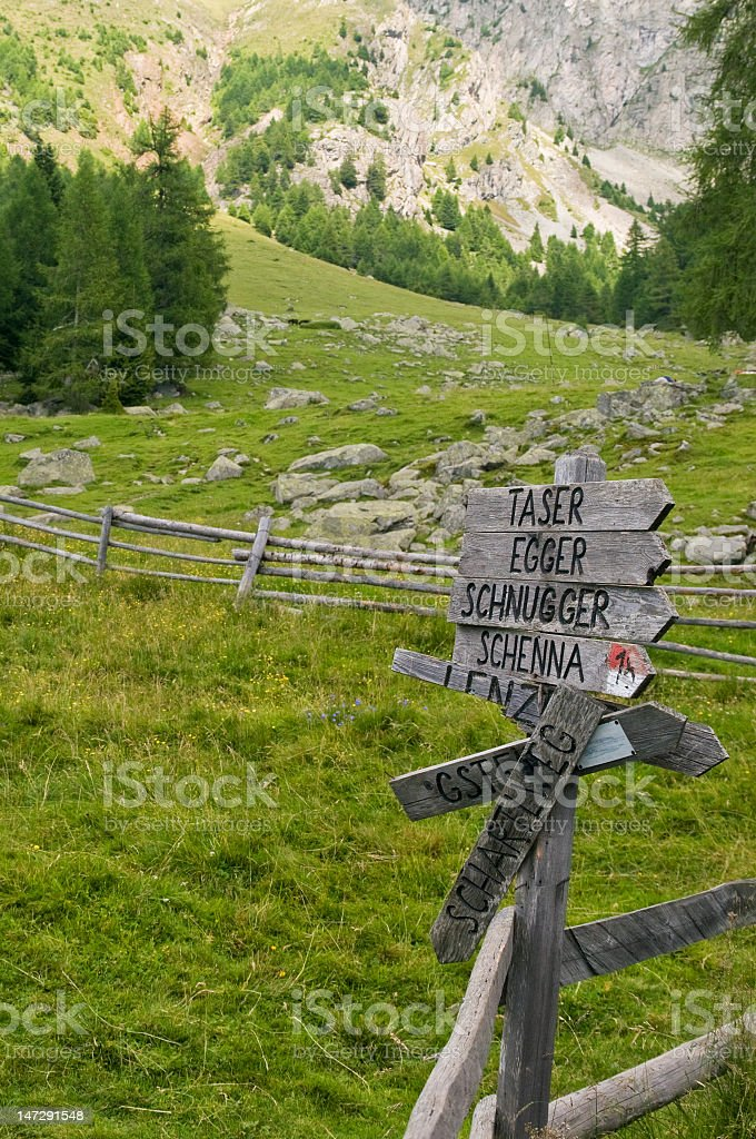 signpost in the alps stock photo