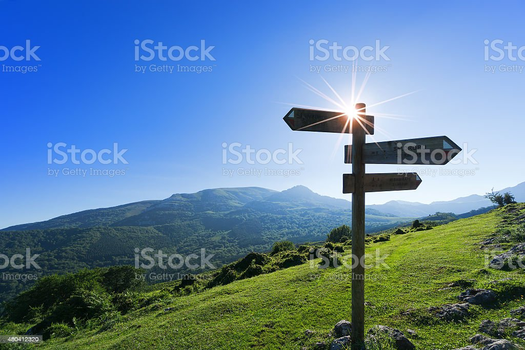 signpost in the mountain stock photo