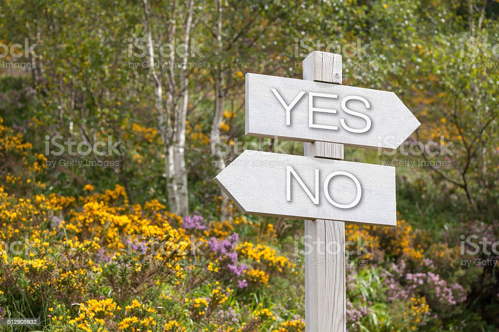 signpost in the mountains, yes, no stock photo