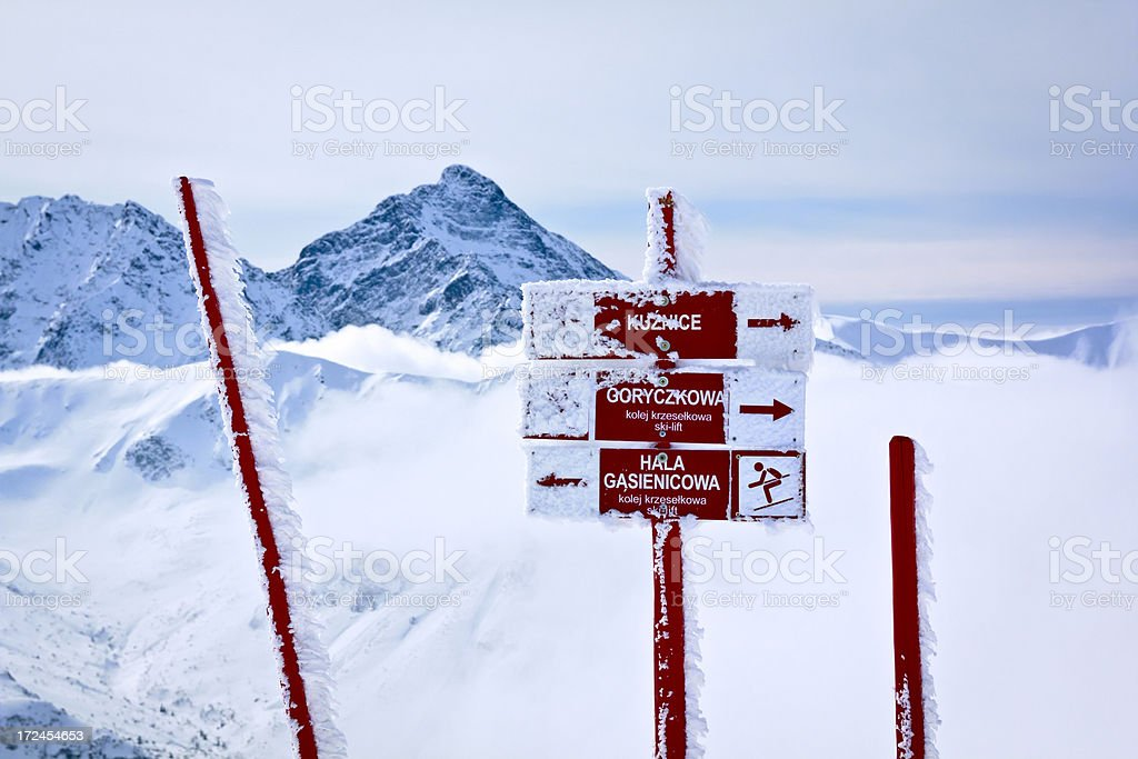 Signpost in the Tatra mountains royalty-free stock photo
