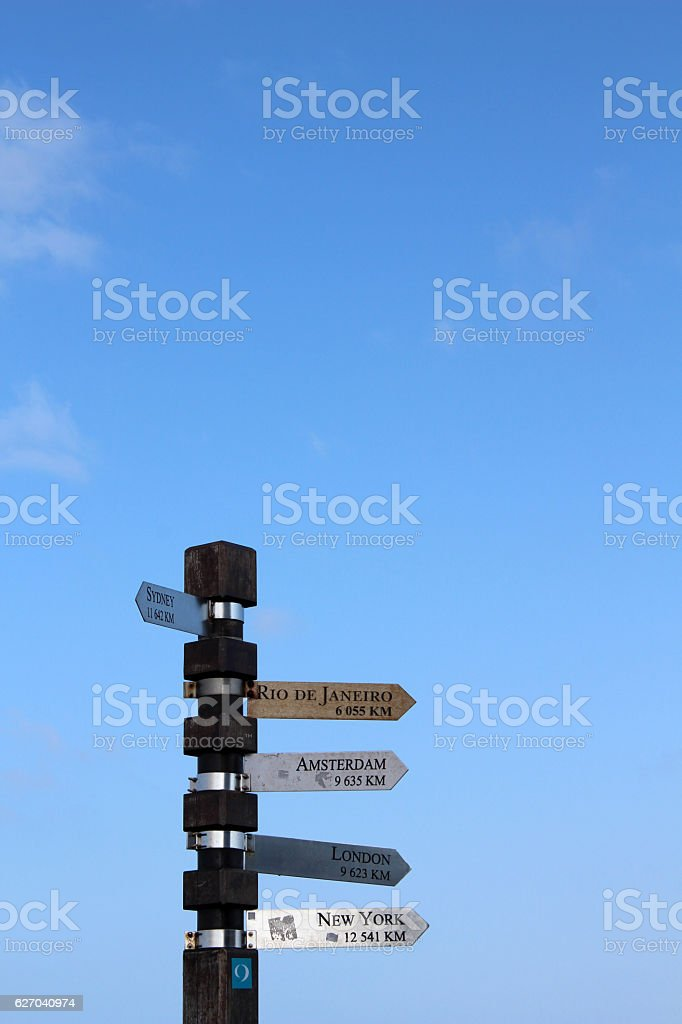 Signpost - Lighthouse at cape of good hope stock photo