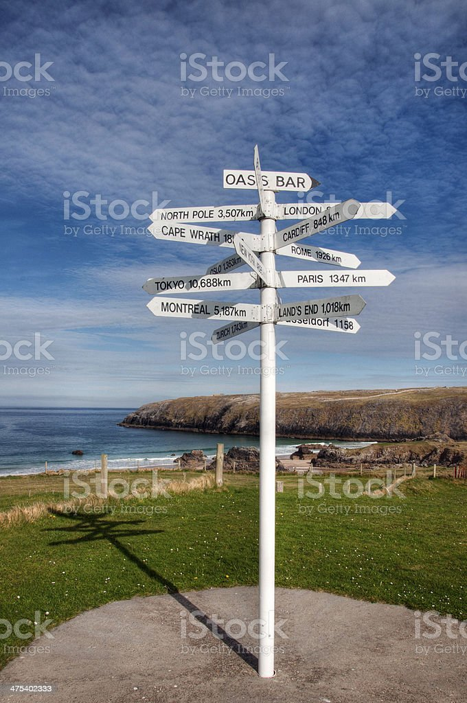 Signpost of major cities stock photo