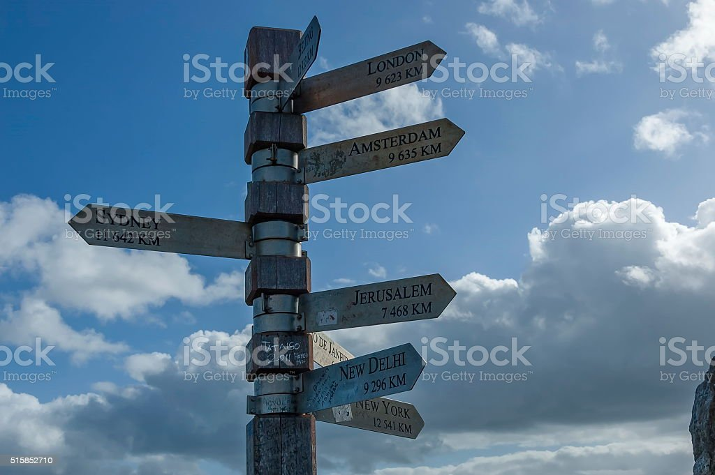 Signpost on Lighthouse at cape of good hope stock photo