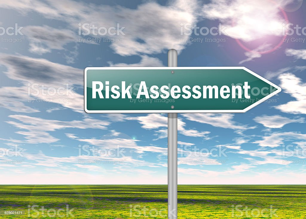 Signpost Risk Assessment stock photo