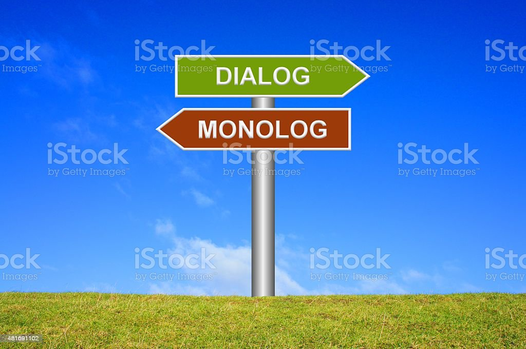 Signpost showing dialogue or monologue in german stock photo