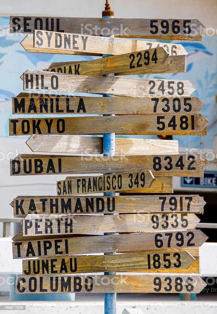 Signpost Showing Distance to Many Places Around the World stock photo
