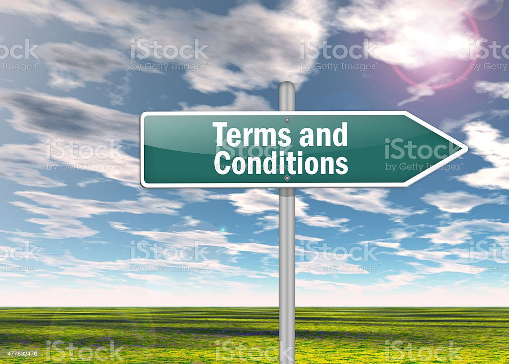 Signpost Terms and Conditions stock photo