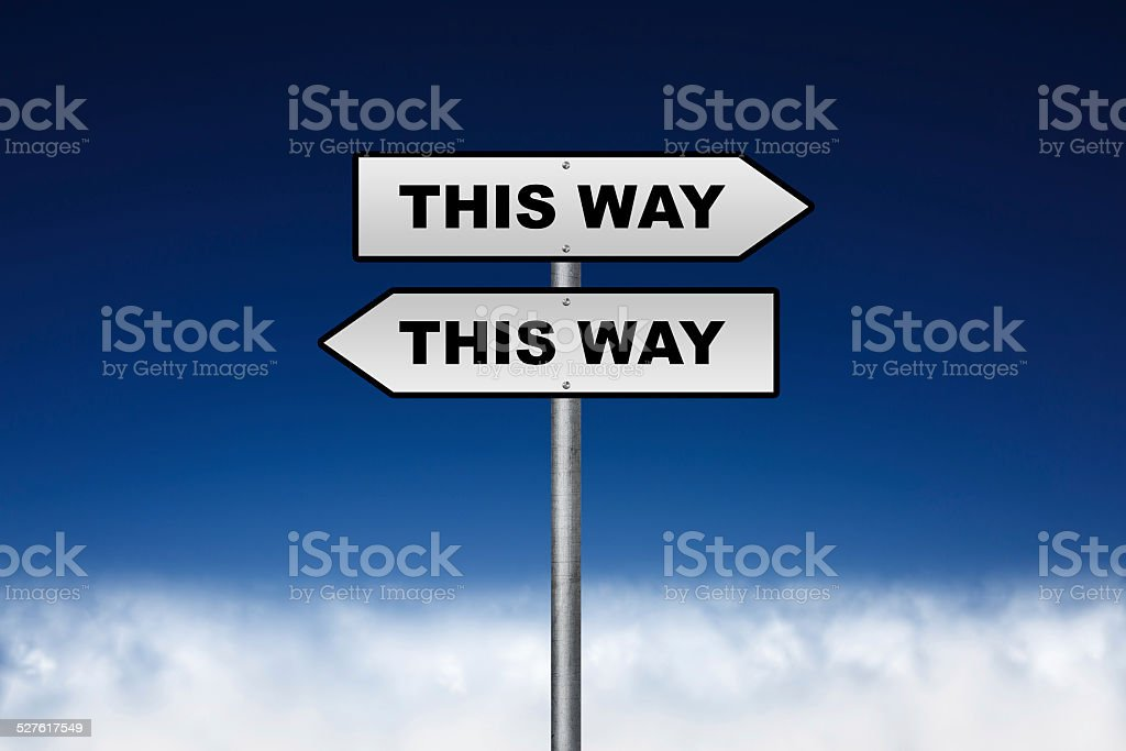 Signpost - this way stock photo