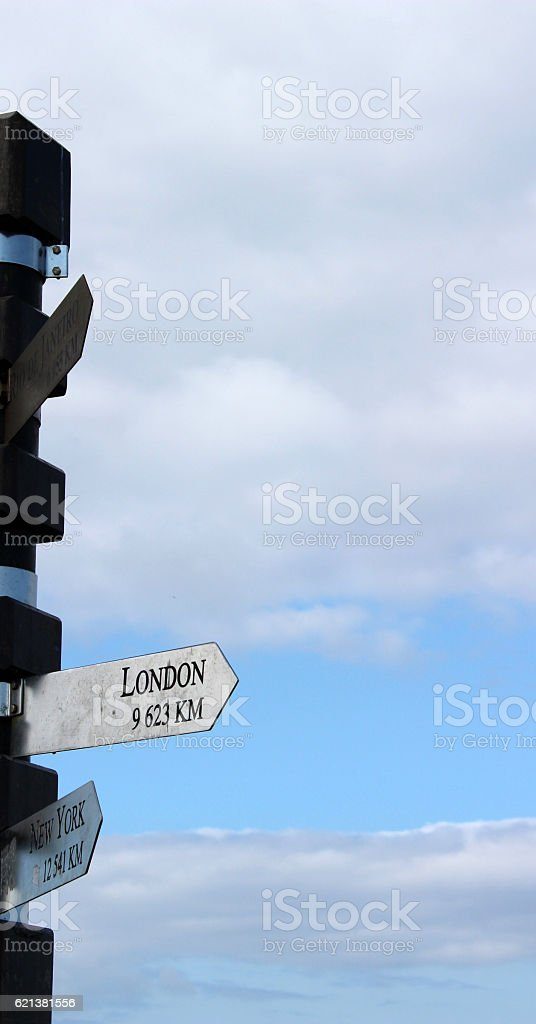 Signpost to London from Cape of Good Hope stock photo