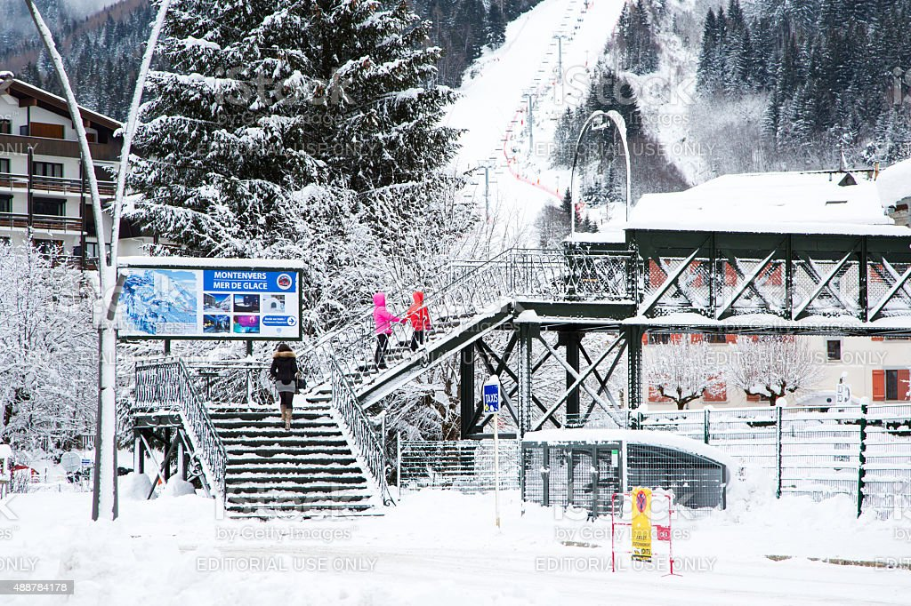 Signpost to Montenvers Mer de Glace in winter stock photo