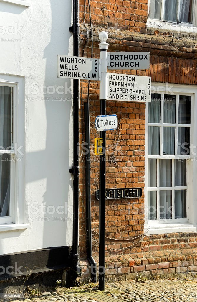 Signpost to the holy places in Little Walsingham stock photo