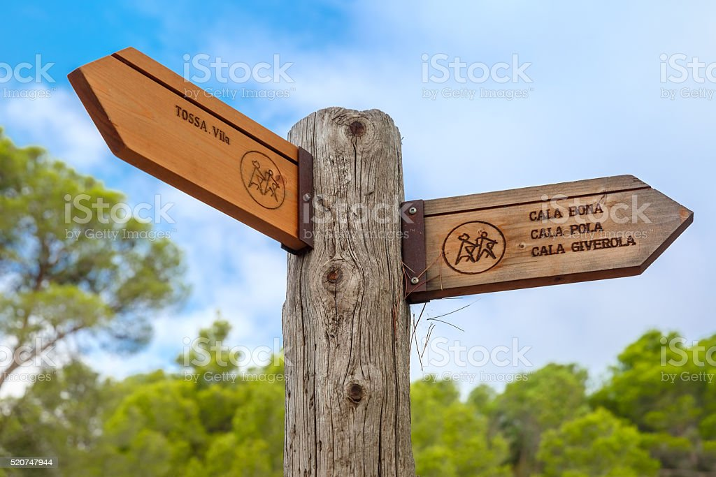 Signpost to the Tossa de Mar, Costa Brava, Spain stock photo