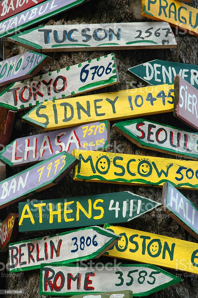 Signpost to the World royalty-free stock photo