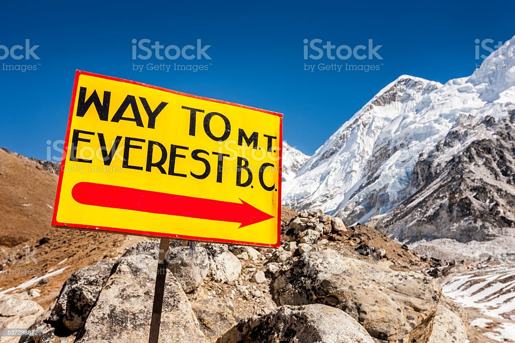 Signpost 'Way to Everest Base Camp', Mount Everest National Park stock photo
