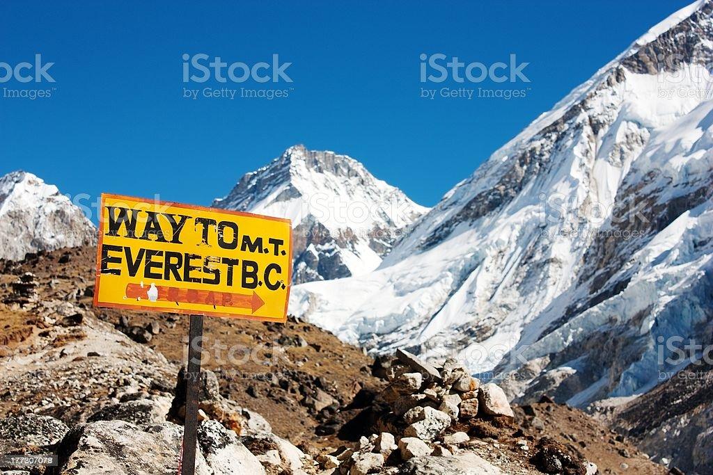 Panneau Route au Mont everest Colombie-Britannique et le panorama de l'Himalaya photo libre de droits