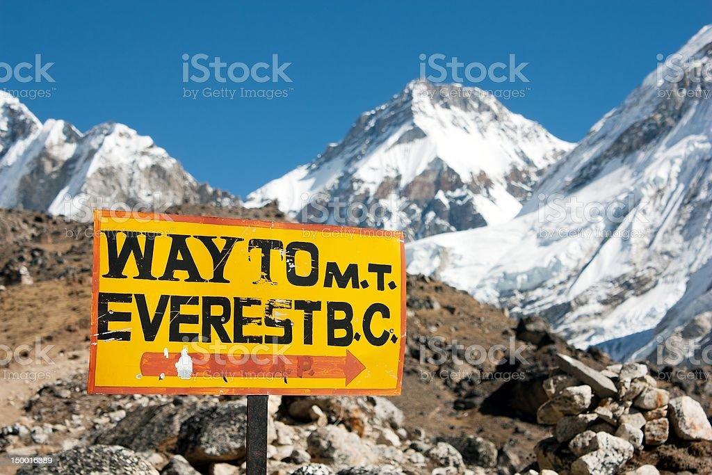 Panneau Route au Mont everest, en Colombie-Britannique. photo libre de droits