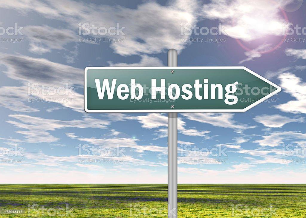 Signpost 'Web Hosting' stock photo