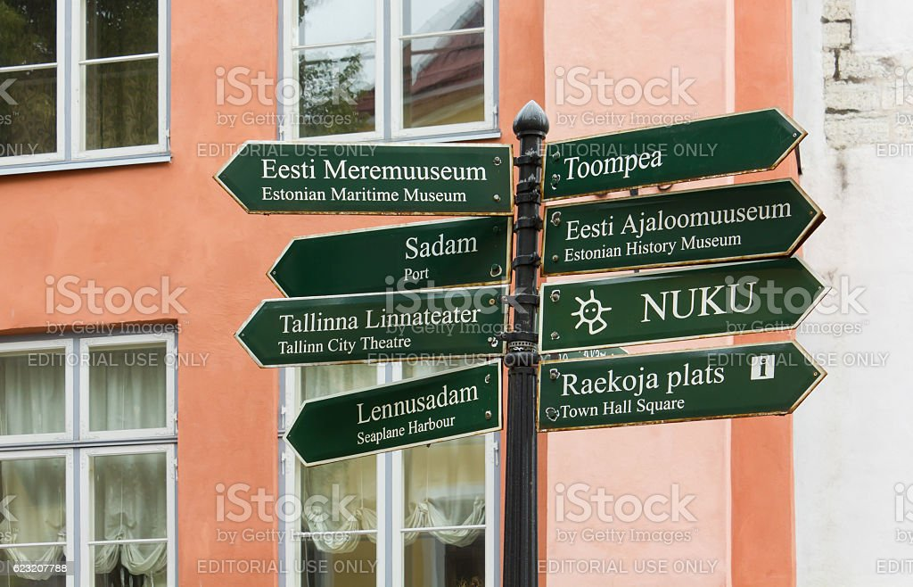 Signpost with a Group of Signs in Tallinn stock photo