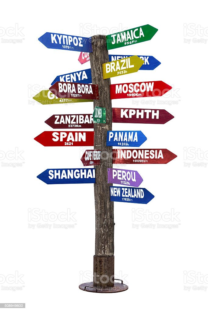 Signpost with Directions to Travel Destinations stock photo