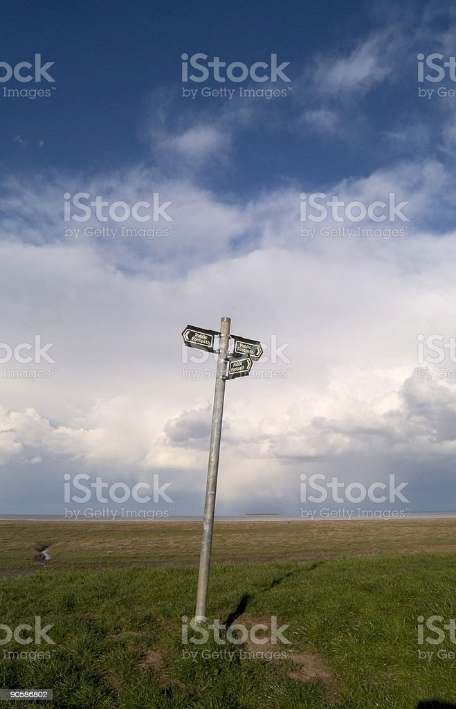 Signpost with dramatic sky royalty-free stock photo