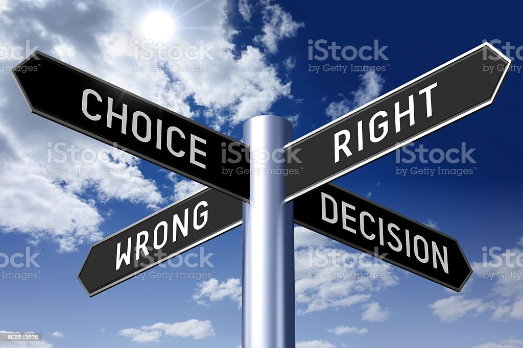 Signpost with four arrows - choice concept stock photo