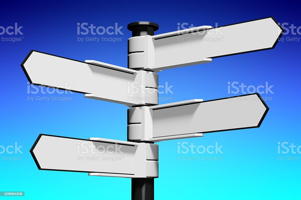 3D signpost with four arrows stock photo