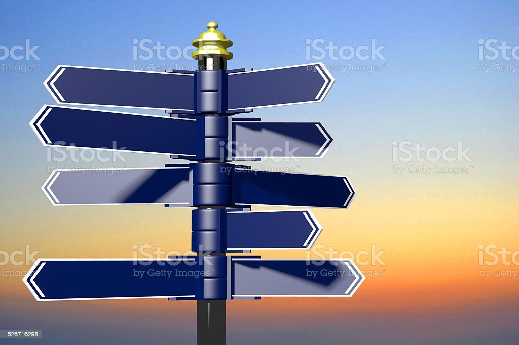 3D signpost with many arrows stock photo