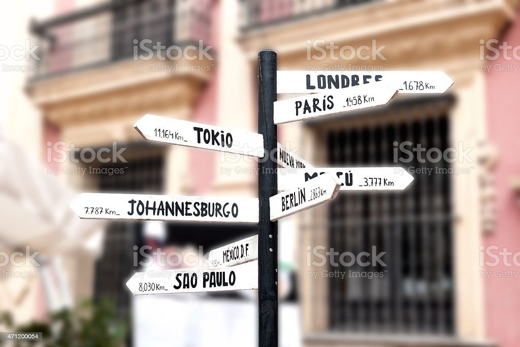 Signpost with names of major cities worldwide stock photo