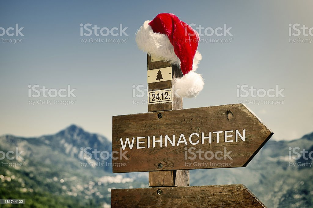 Signpost with Santa Hat royalty-free stock photo