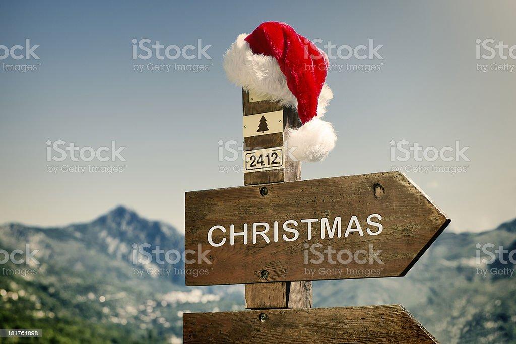 Signpost with Santa Hat royalty-free stock photo