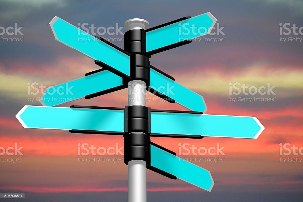 3D signpost with seven arrows stock photo