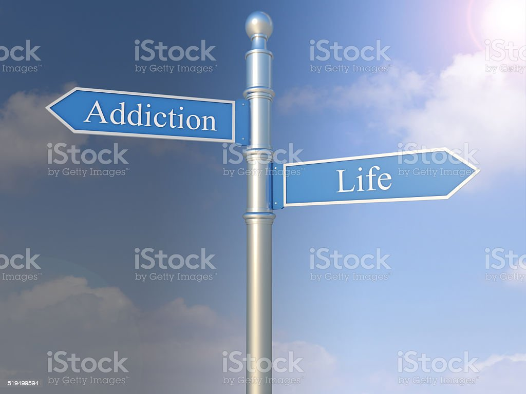 Signpost with the words Addiction and Life stock photo