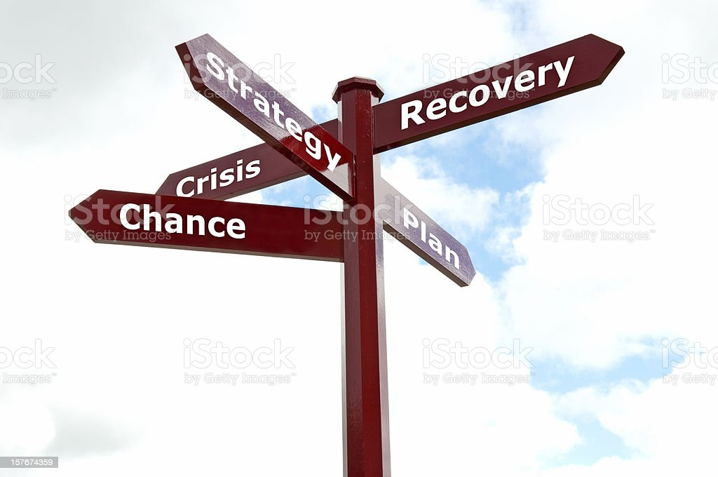 signpost with the words crisis, chance, stratety, plan, recovery stock photo