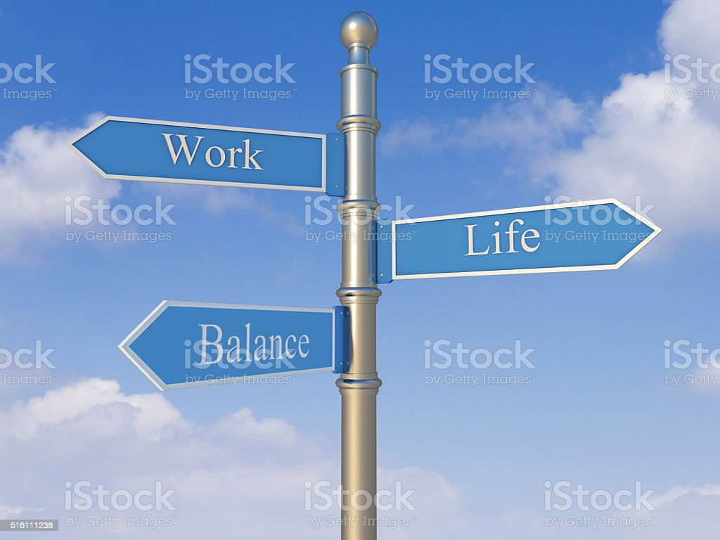 Signpost with the words Work, Life and Balance stock photo