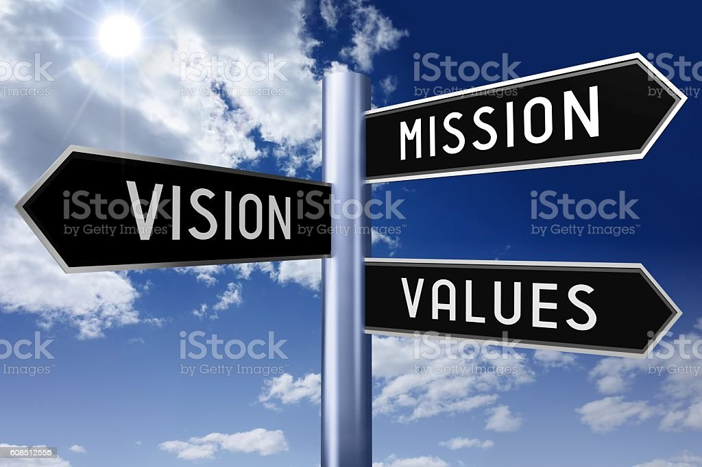 Signpost with three arrows - business ethics stock photo
