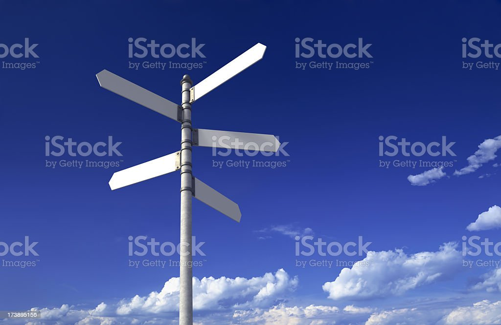 Signpost with three blank signs on sky backgrounds stock photo