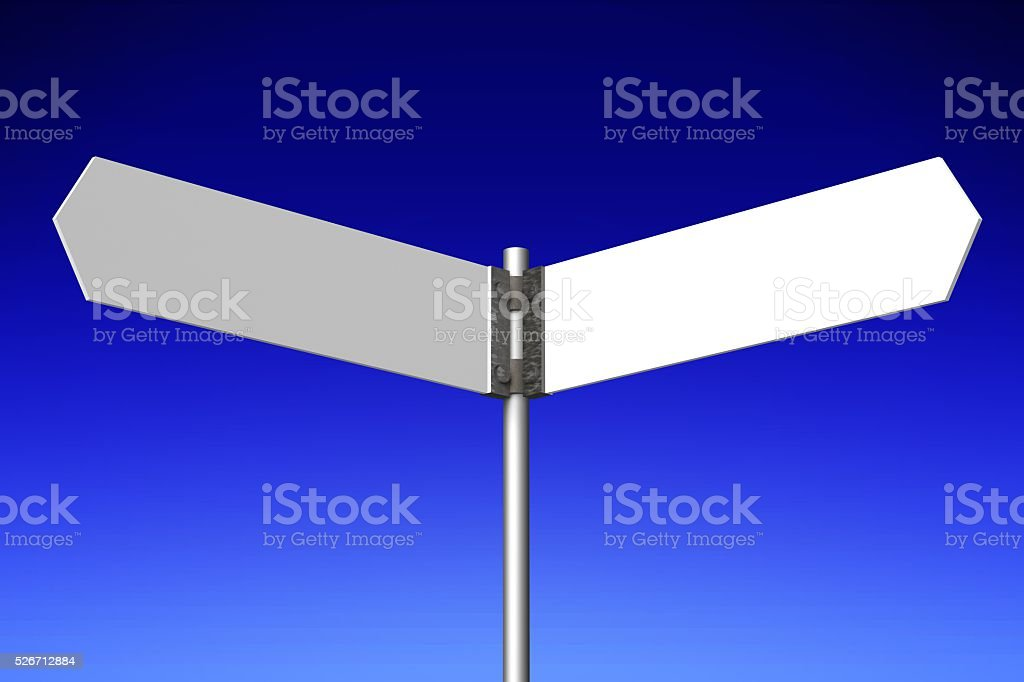 3D signpost with two arrows stock photo