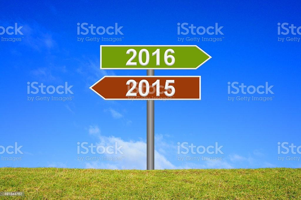 Signpost year 2015 2016 stock photo