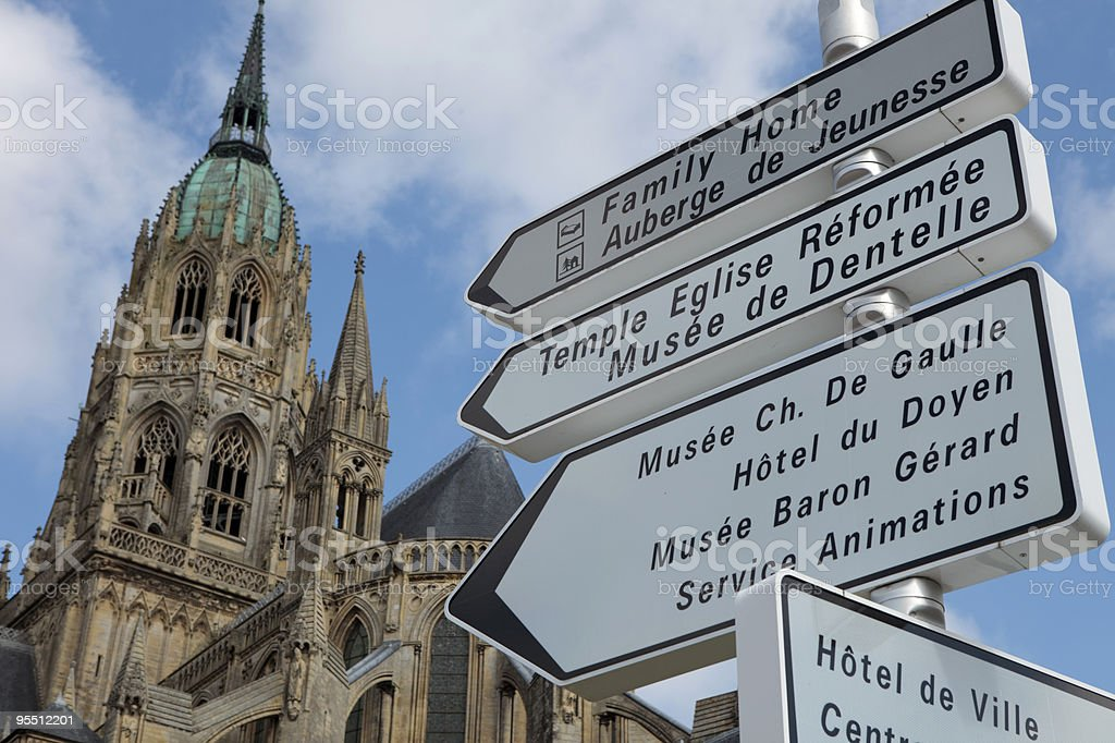 signposting in Bayeux stock photo